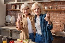 Happy mature female friends showing ok sign