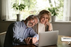 Happy mature man and woman hugging, looking at laptop screen, smiling elderly couple cuddling, watching movie or making video call to relatives, chatting online, enjoying leisure time with gadget