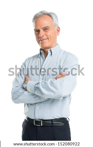 Happy Mature Man With Arms Crossed