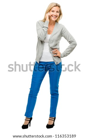 Happy mature woman chatting mobile phone  isolated on white background
