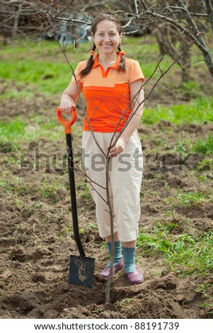 Happy  mature woman planting tree at garden in spring