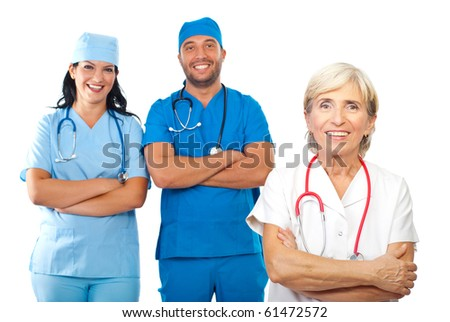 Happy medical team smiling  and standing with arms folded in front of  camera isolated on white background
