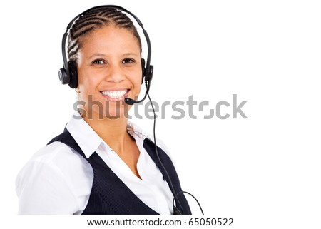 happy middle aged african american businesswoman with headset smiling