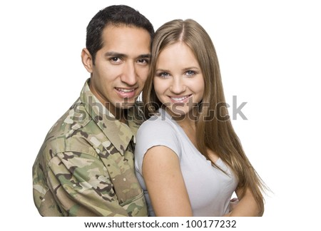 Happy Military Couple Embrace
