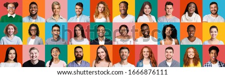 Happy Millennials Portrait Collage. Mosaic Of Smiling Faces Of Different Multiethnic People Posing On Bright Colorful Backgrounds. Panorama