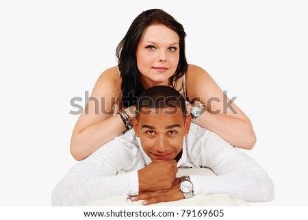 Happy mixed race couple togetherness pose