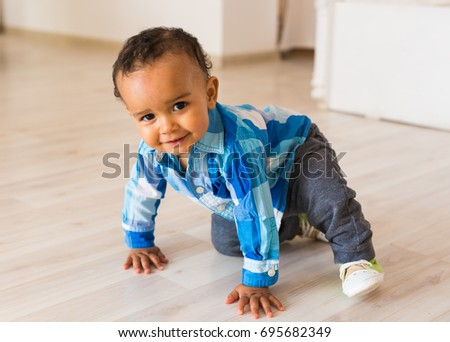 Happy Mixed Race Toddler Boy