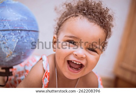 Happy Mixed Race Toddler Girl
