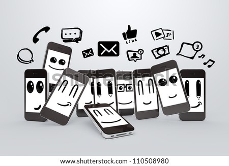 happy mobile phones smileys with social media icons