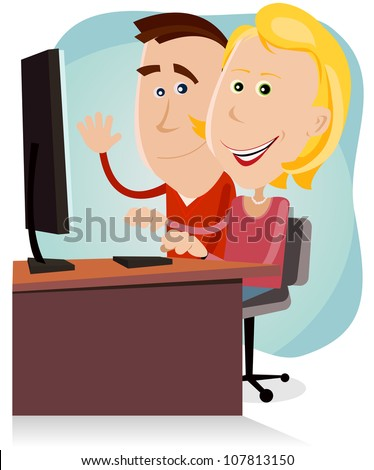 Happy Mom And Dad Working On Desktop Computer/ Illustration of a cartoon happy couple of father and mother, surfing on  the net or working on a desktop computer