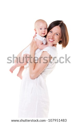 happy mom with her baby. studio shot over white background