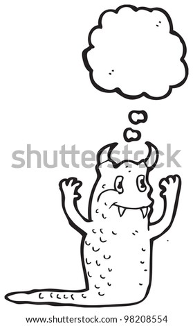 happy monster with thought bubble - stock photo