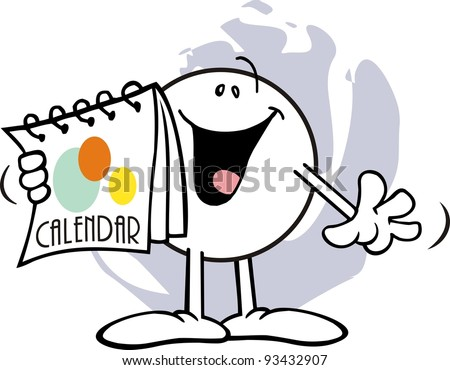 Happy Moodie Character Looking at A Calendar