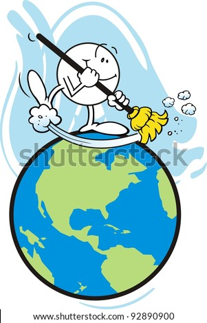 Happy Moodie Character Sweeping The Earth - stock photo