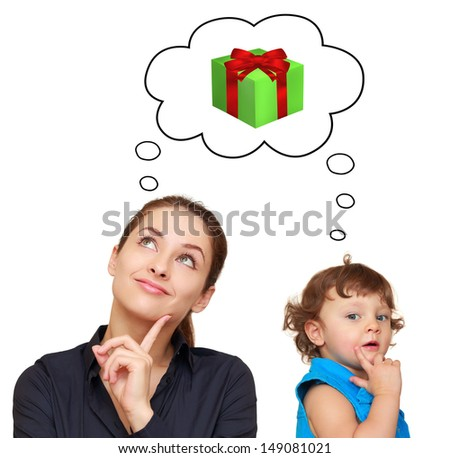 Happy mother and baby girl thinking about present gift in bubble isolated on white background