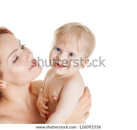 happy mother and cute baby girl isolated on white