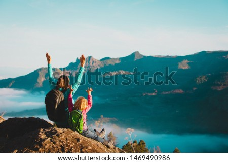 happy mother and daughter enjoy travel in mountains #1469490986