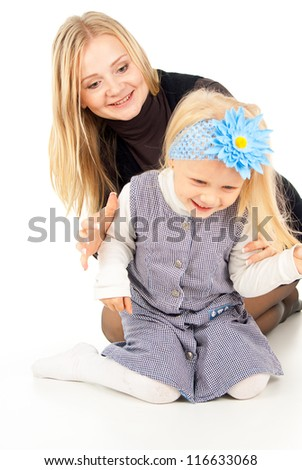 happy mother and daughter play