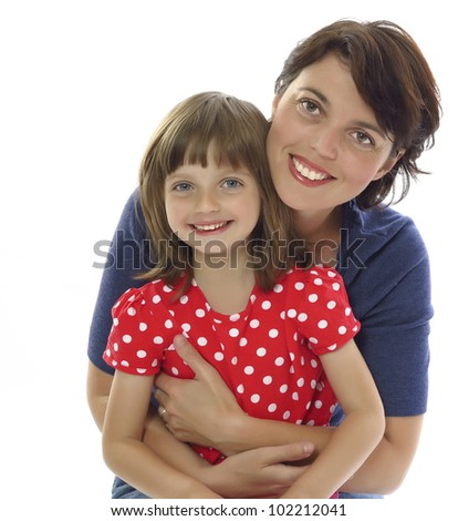 happy mother and her daughter isolated on white background