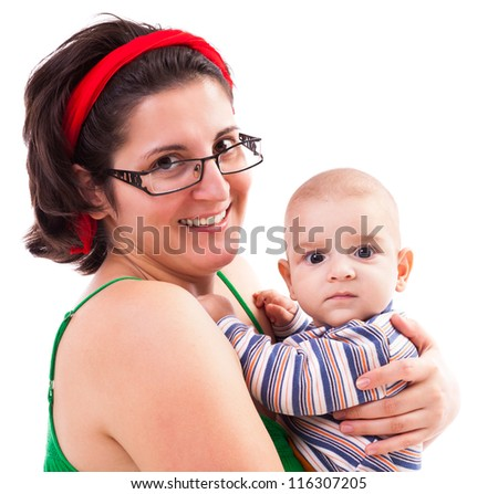 Happy mother and her toddler son playing - stock photo