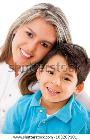 Happy mother and son - isolated over a white background