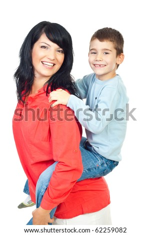 Happy mother and son with missing teeth in  piggy back isolated on white background