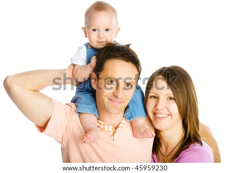 Happy mother, father and son isolated on white