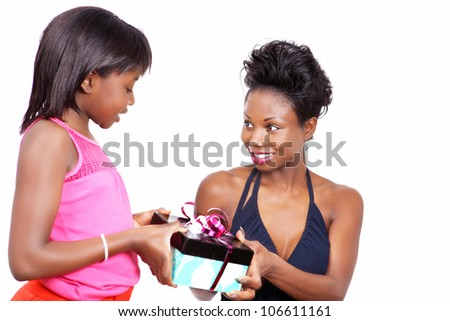 Happy mother gets a gift from little daughter