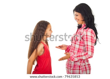 Happy mother having conversation with her daughter and give advices isolated on white background