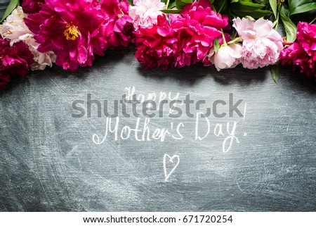 Happy Mother`s Day background and peony flowers #671720254