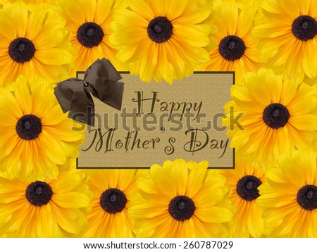 Happy Mother\'s Day brown rustic card with bow and yellow daisy flower background