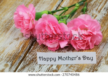 Happy Mother\'s day card with pink carnations