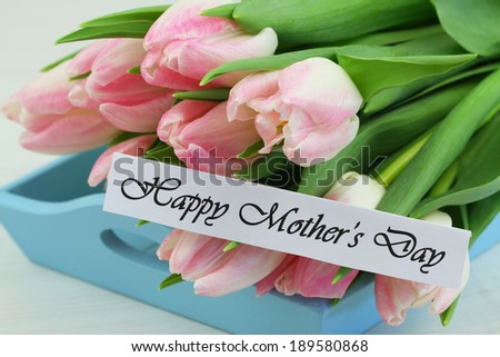 Happy Mother\'s Day card with pink tulips