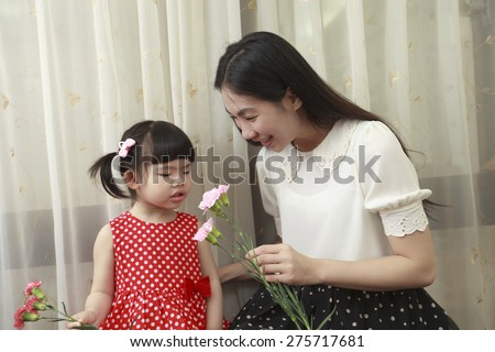 Happy Mother\'s Day. Child send gift to mother.