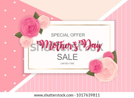 Happy Mother s Day Cute Sale Background with Flowers.  Illustration  #1017639811