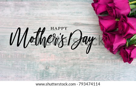 Happy Mother's Day Typography with Colorful Pink Roses in Corner Over Rustic Wood Background #793474114
