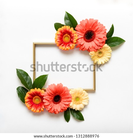 Happy Mother's Day, Women's Day, Valentine's Day or Birthday coral colored Background. Coral flat lay greeting card template with beautiful gerbera flowers.