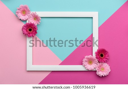 Happy Mother's Day, Women's Day, Valentine's Day or Birthday Pastel Candy Colours Background. Floral flat lay minimalism geometric patterns greeting card. #1005936619