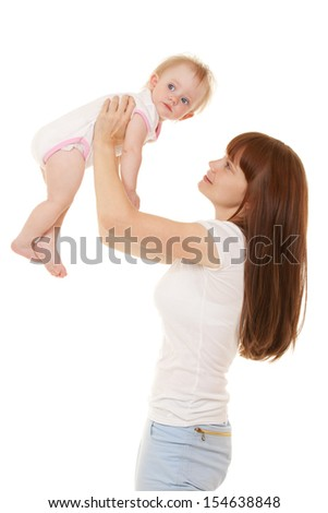 Happy mother with daughter isolated on the white background - stock photo