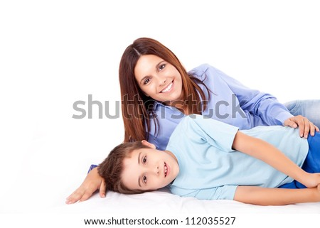Happy mother with her child over white background