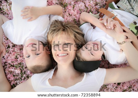 Happy Mother with her Two Happy Boys