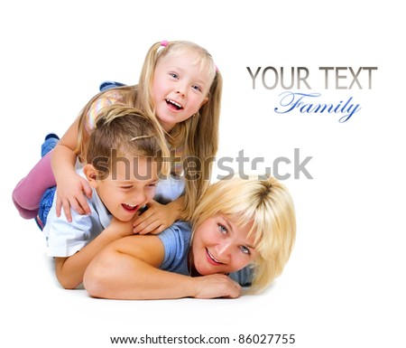 Happy Mother with kids having fun