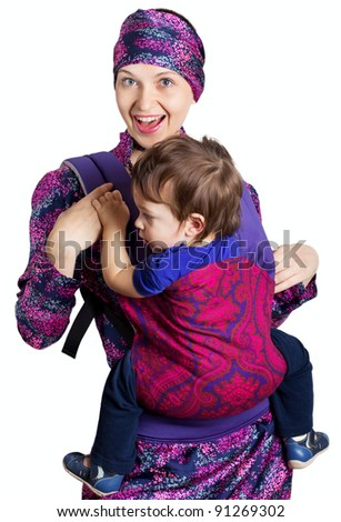 happy mother with son isolated on white background