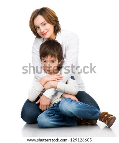 happy mother with son over white