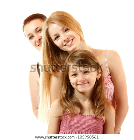 happy mother with two daughters, isolated on white background