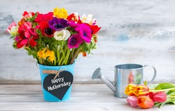 Happy Mothersday reminder with colorful flowers