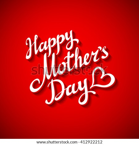 Happy Motherss Day Typographical Design Card With Red Background art #412922212