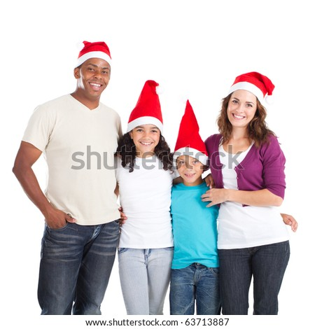 happy multiracial family of four wearing santa hats on white