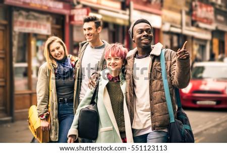 happy multiracial friends...