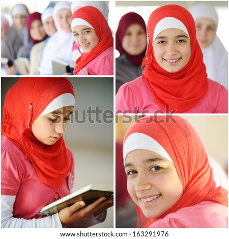 Happy muslim and Arabic girls learning together in group